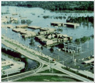 Picture of Jackson, MS during the Easter Flood of 1979.
